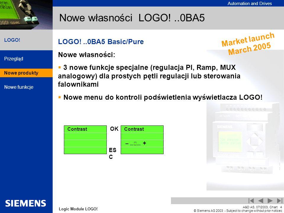 Nowe własności LOGO! ..0BA5 Market launch March 2005