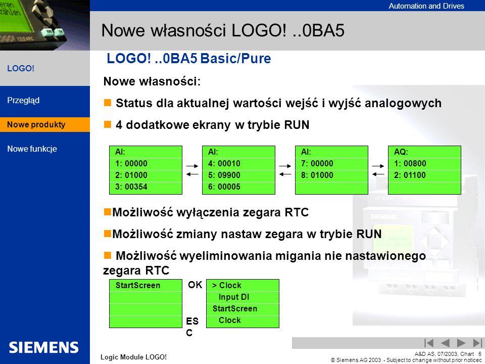 Nowe własności LOGO! ..0BA5 LOGO! ..0BA5 Basic/Pure Nowe własności: