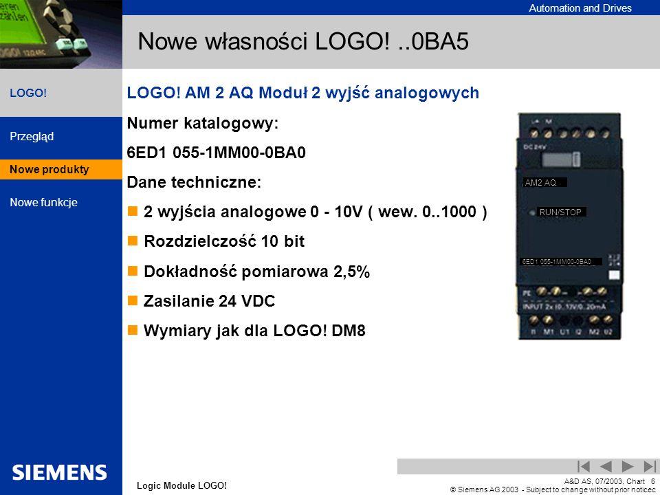 Nowe własności LOGO! ..0BA5 LOGO! AM 2 AQ Moduł 2 wyjść analogowych