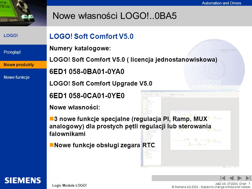 Nowe własności LOGO!..0BA5 LOGO! Soft Comfort V5.0 6ED1 058-0BA01-0YA0