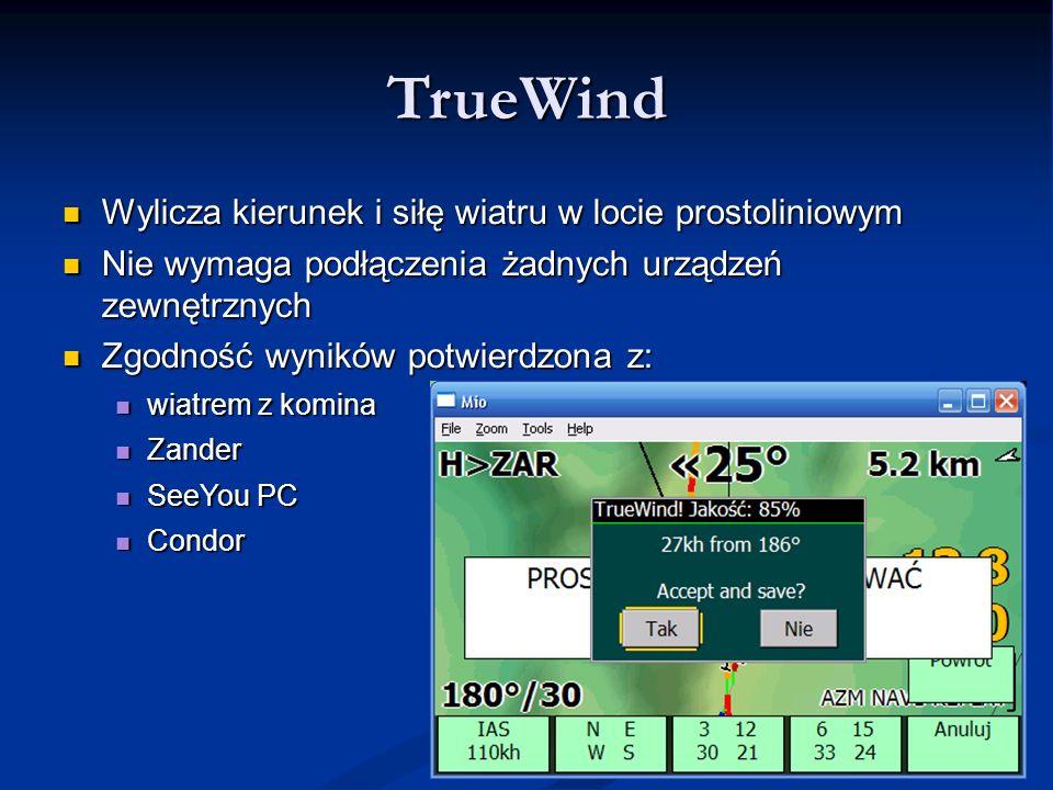 TrueWind Wylicza kierunek i siłę wiatru w locie prostoliniowym