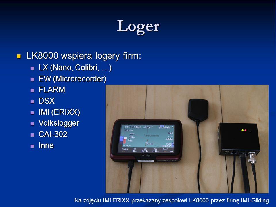 Loger LK8000 wspiera logery firm: LX (Nano, Colibri, …)