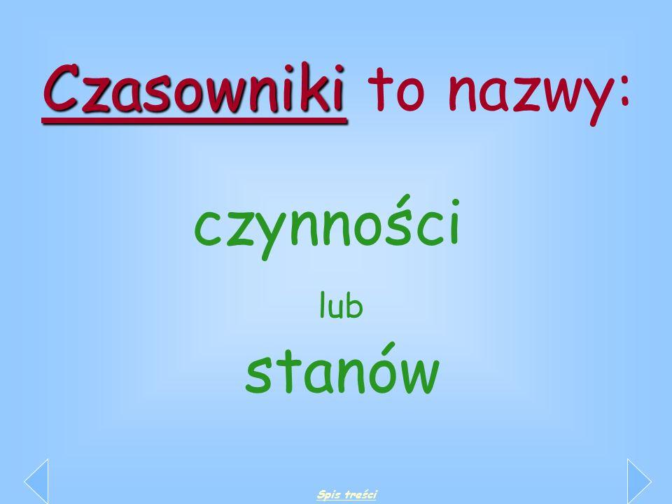 Czasowniki to nazwy: czynności lub stanów Spis treści