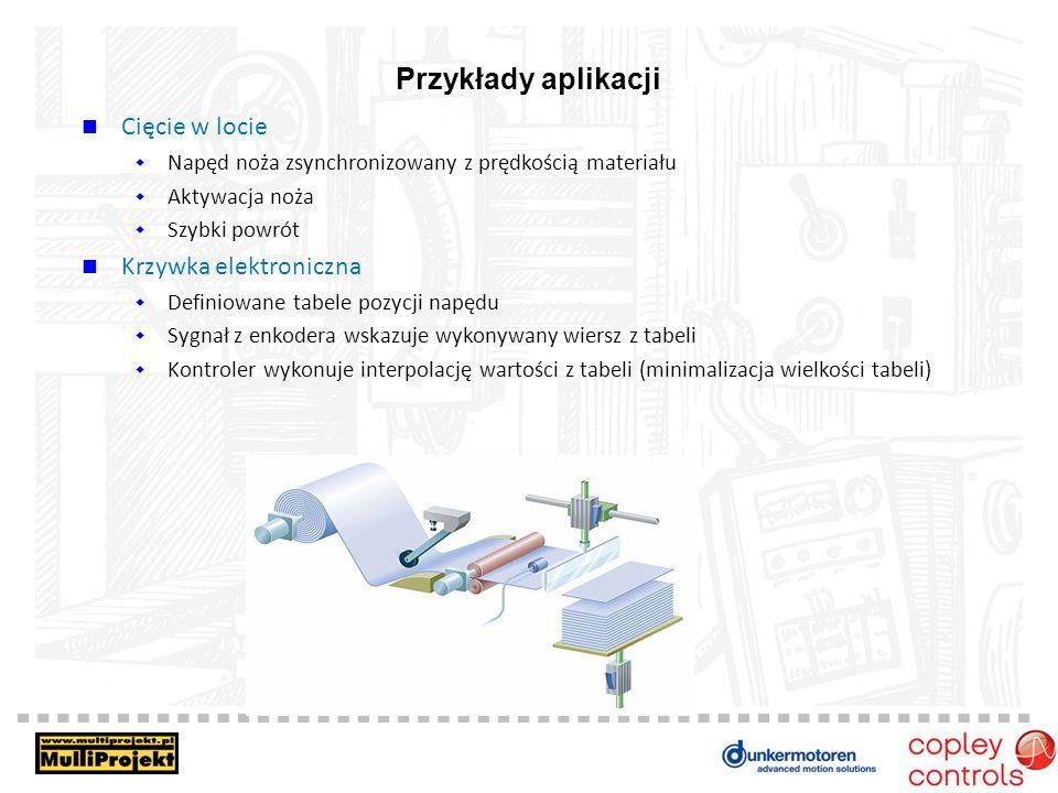 Przykłady aplikacji Cięcie w locie Krzywka elektroniczna