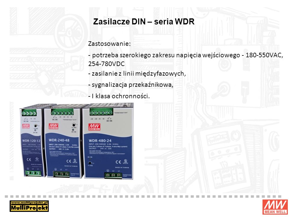 Zasilacze DIN – seria WDR