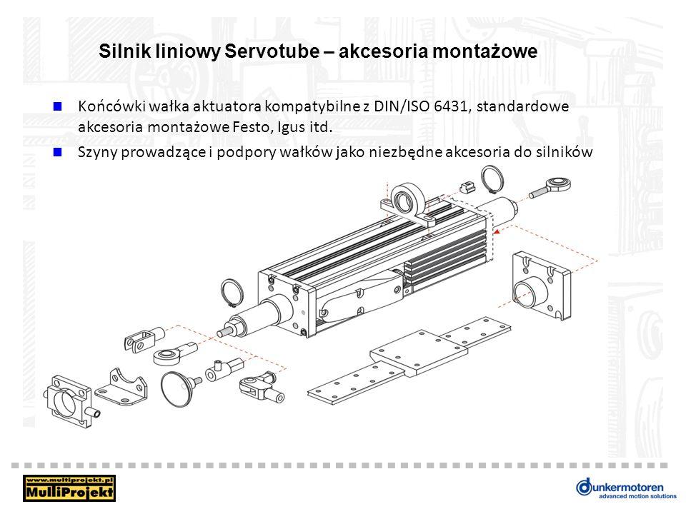 Silnik liniowy Servotube – akcesoria montażowe