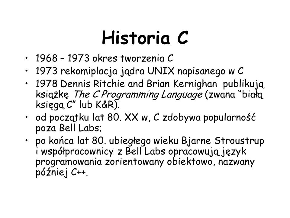 Historia C 1968 – 1973 okres tworzenia C