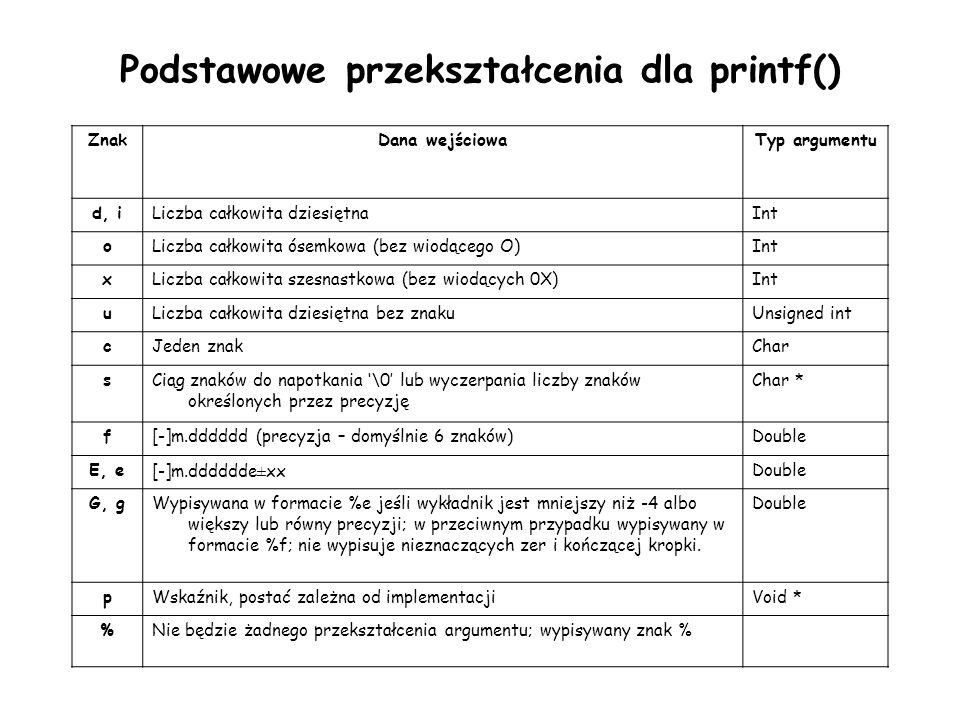 Podstawowe przekształcenia dla printf()