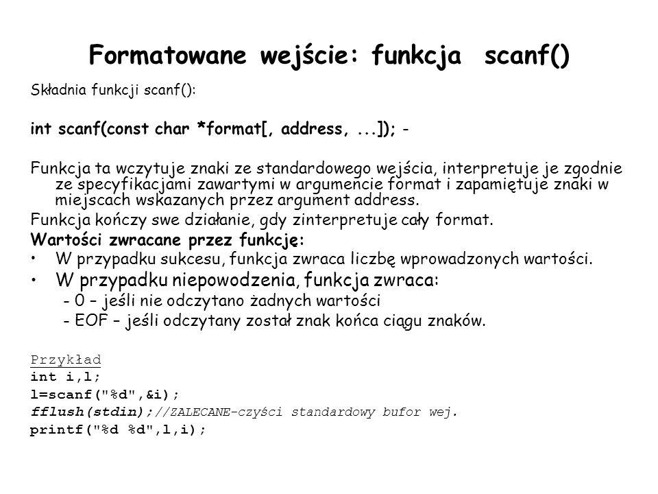 Formatowane wejście: funkcja scanf()