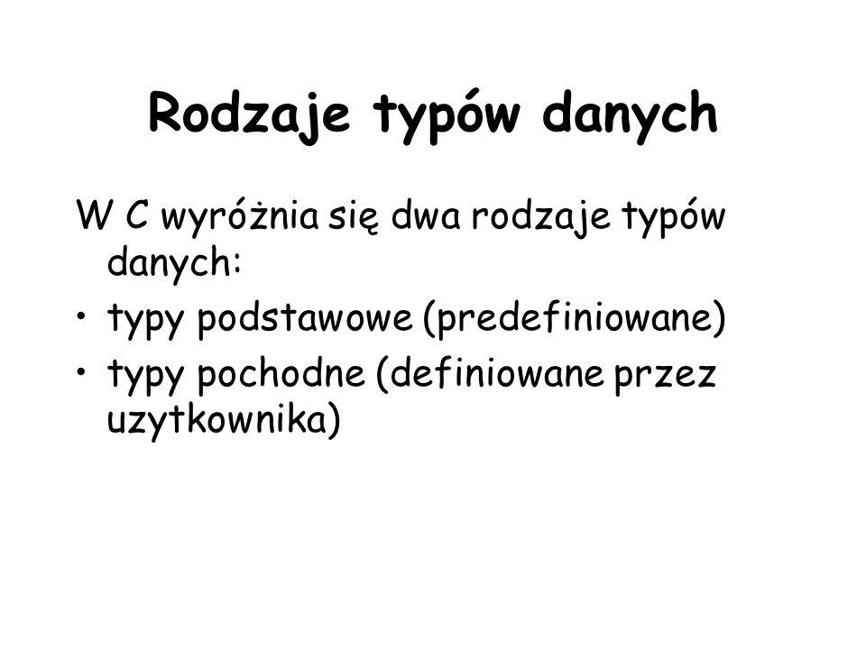 Rodzaje typów danych W C wyróżnia się dwa rodzaje typów danych: