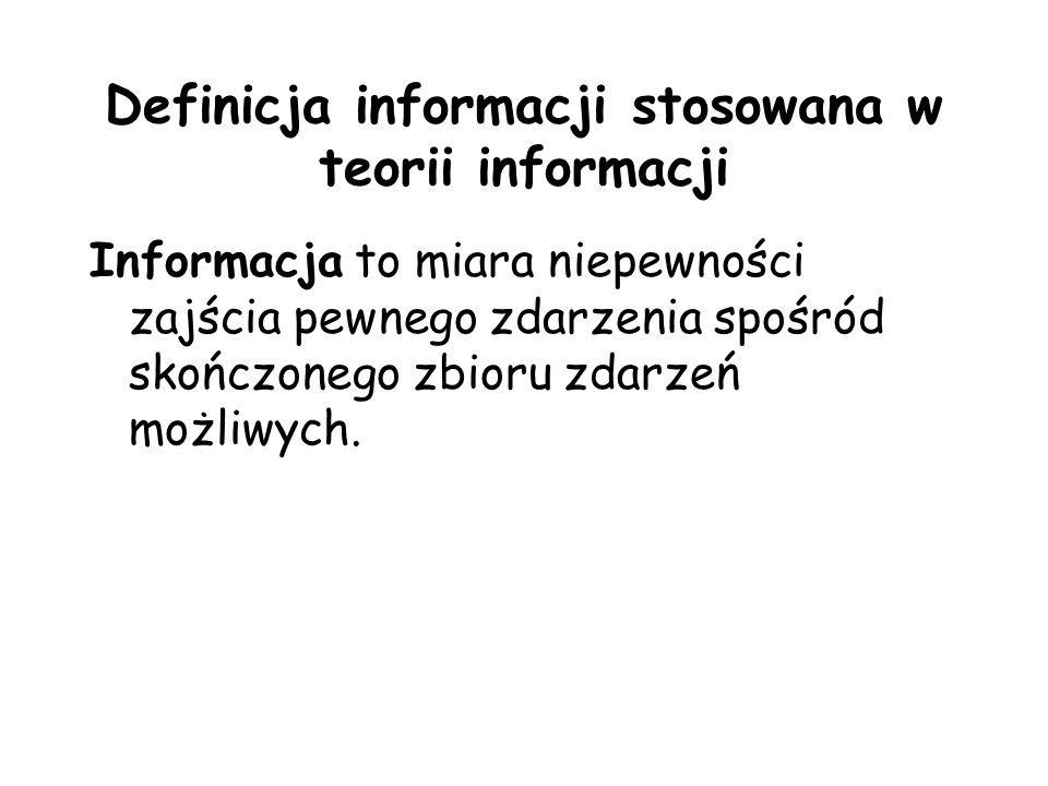 Definicja informacji stosowana w teorii informacji