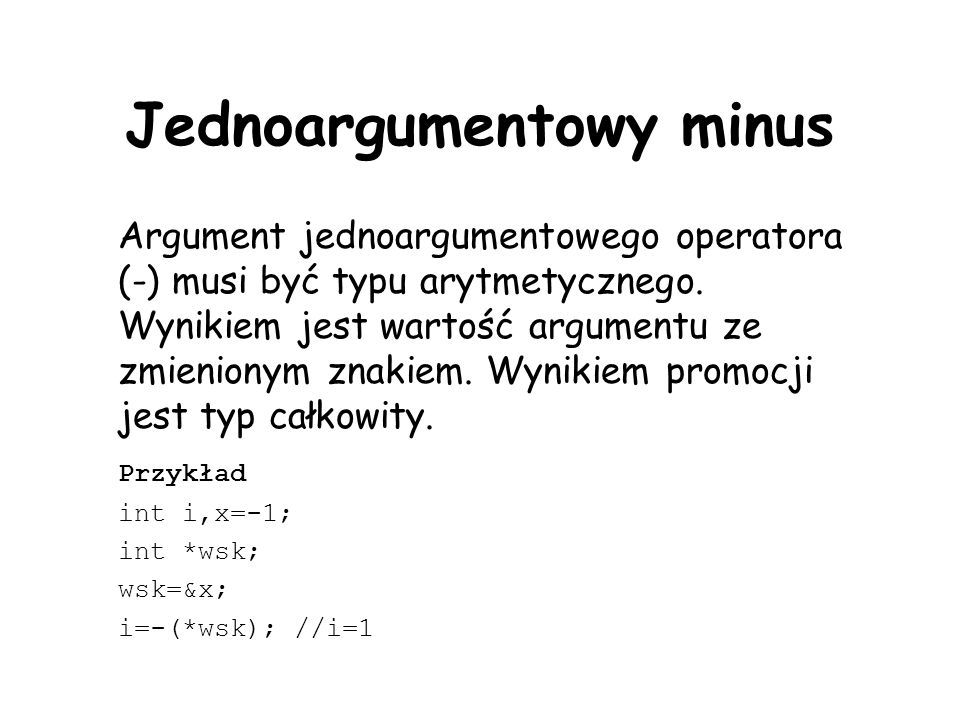 Jednoargumentowy minus