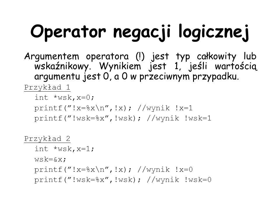 Operator negacji logicznej