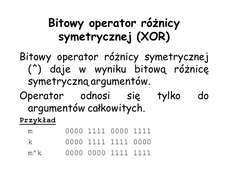 Bitowy operator różnicy symetrycznej (XOR)