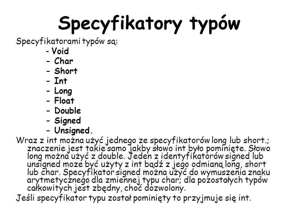 Specyfikatory typów Specyfikatorami typów są: - Void - Char - Short