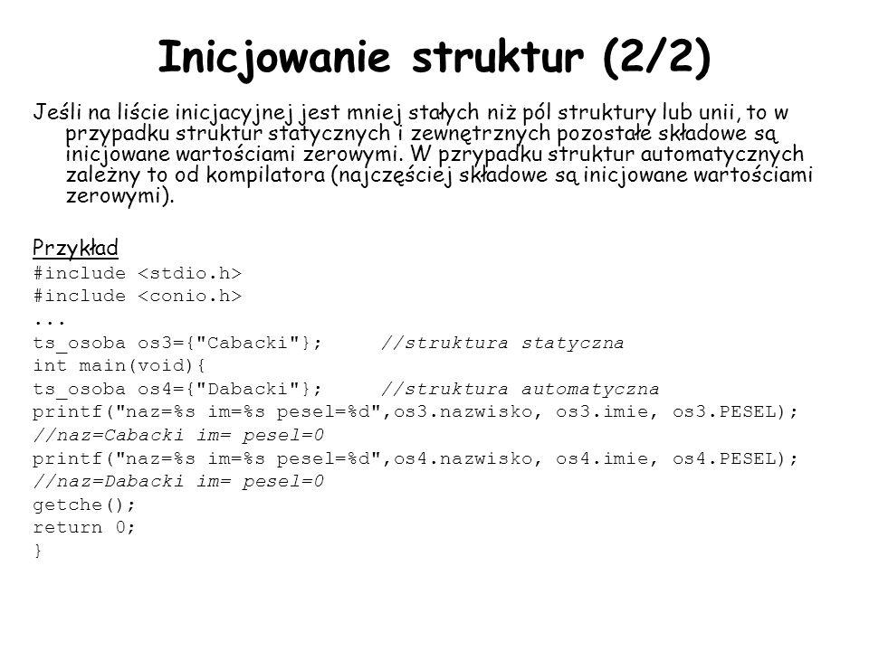 Inicjowanie struktur (2/2)
