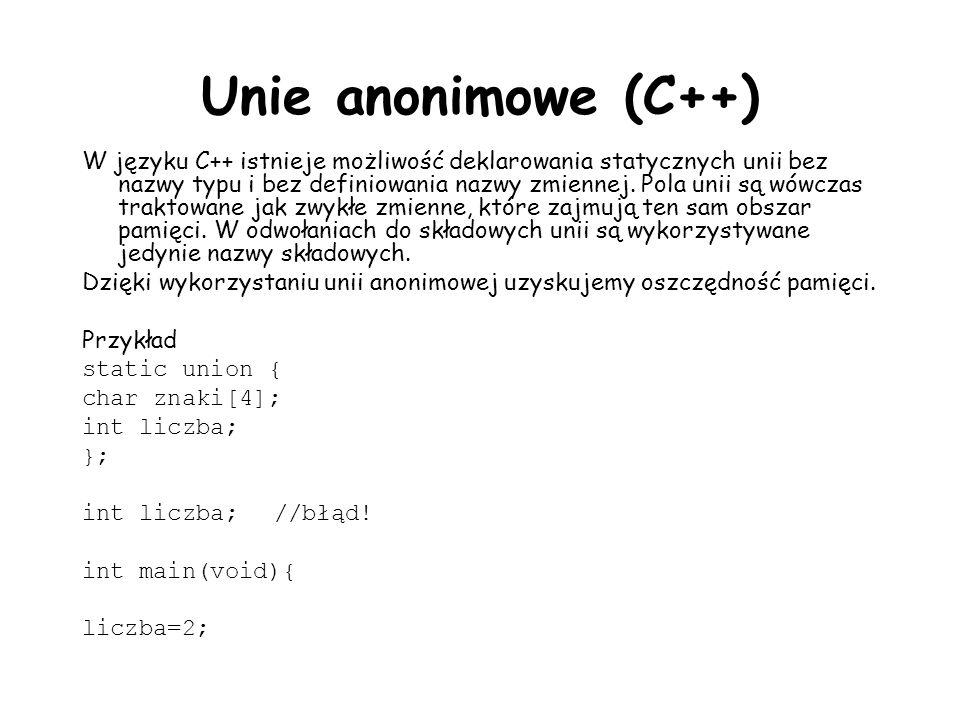 Unie anonimowe (C++)