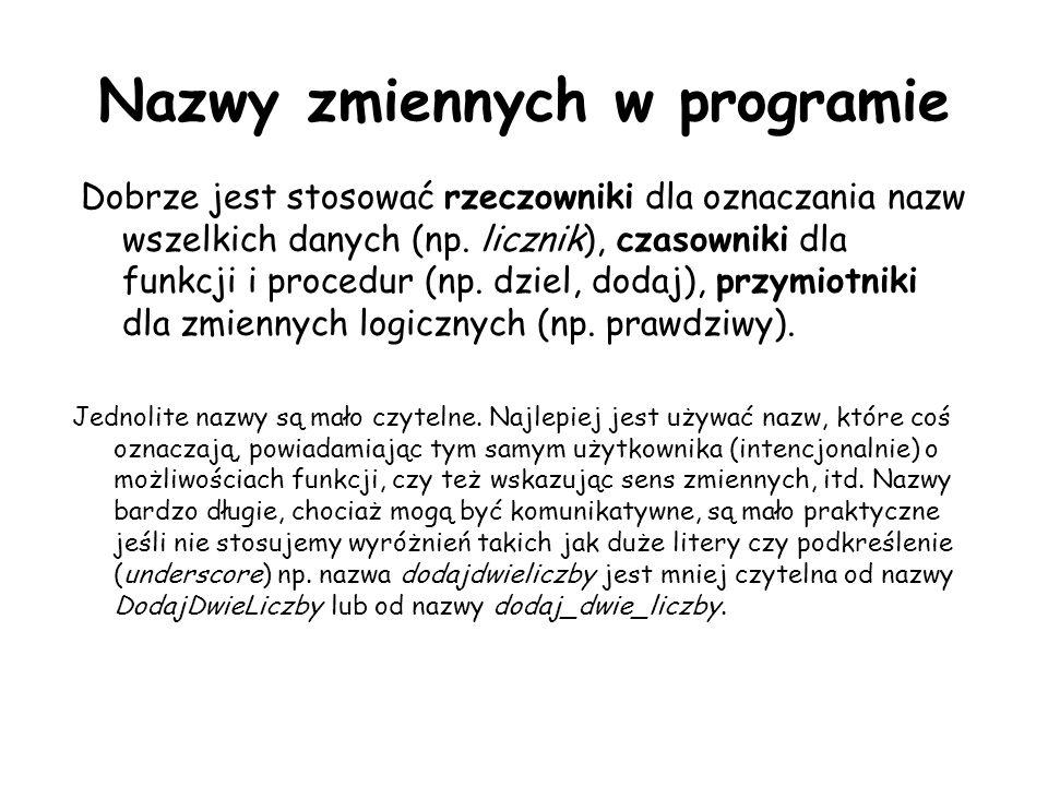 Nazwy zmiennych w programie