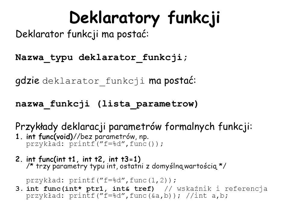 Deklaratory funkcji Deklarator funkcji ma postać: