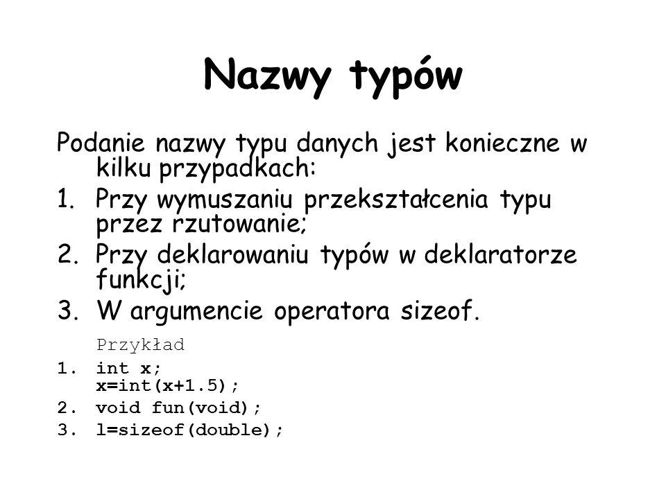 Nazwy typów Podanie nazwy typu danych jest konieczne w kilku przypadkach: Przy wymuszaniu przekształcenia typu przez rzutowanie;