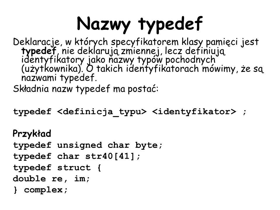 Nazwy typedef