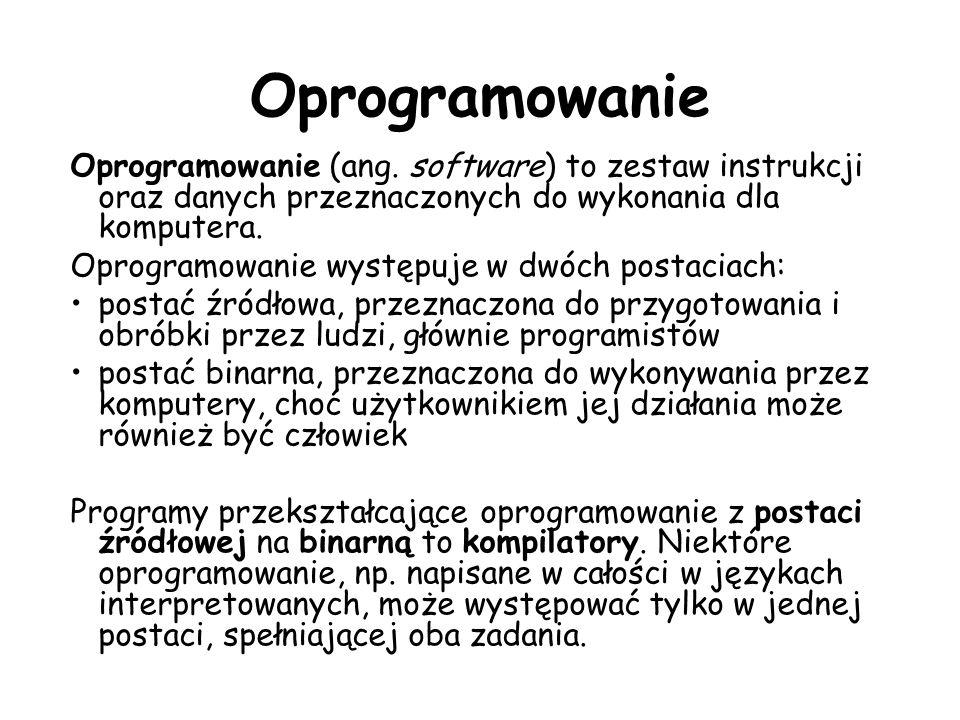Oprogramowanie Oprogramowanie (ang. software) to zestaw instrukcji oraz danych przeznaczonych do wykonania dla komputera.
