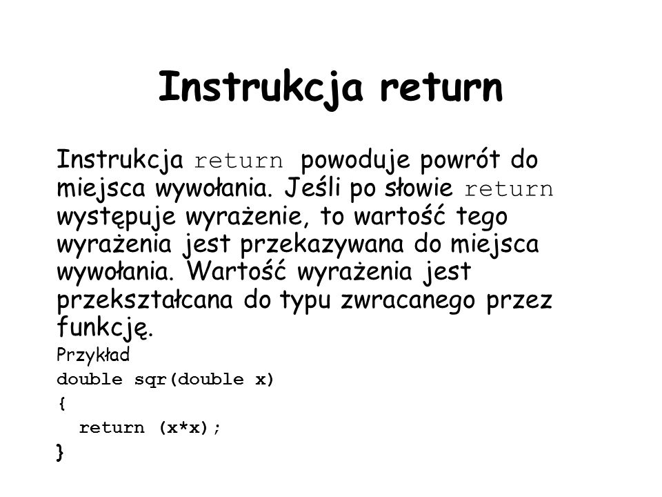 Instrukcja return
