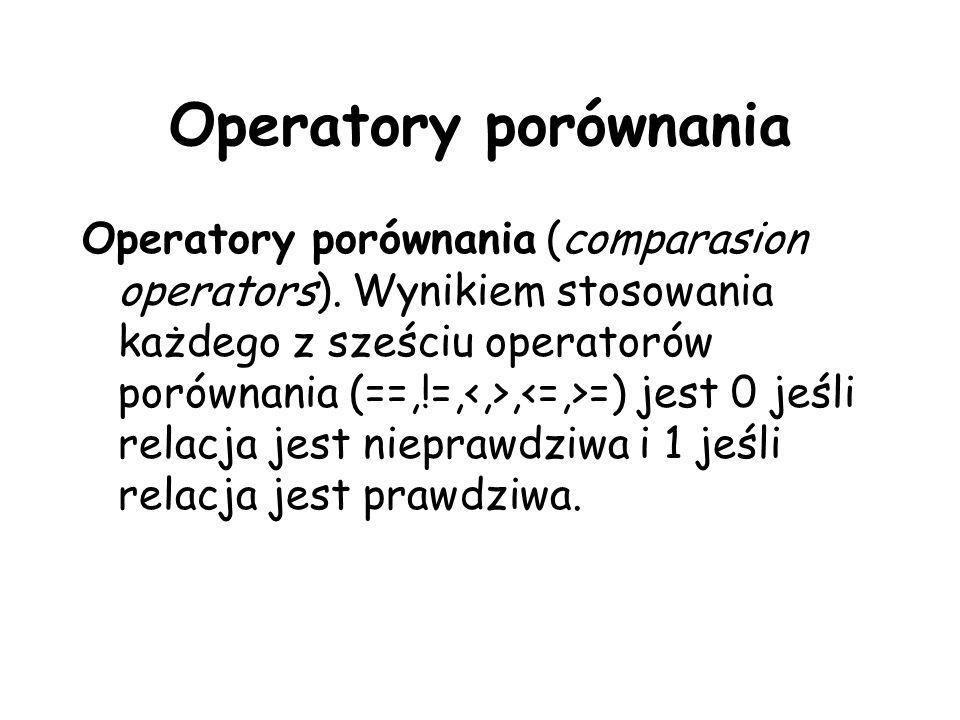 Operatory porównania