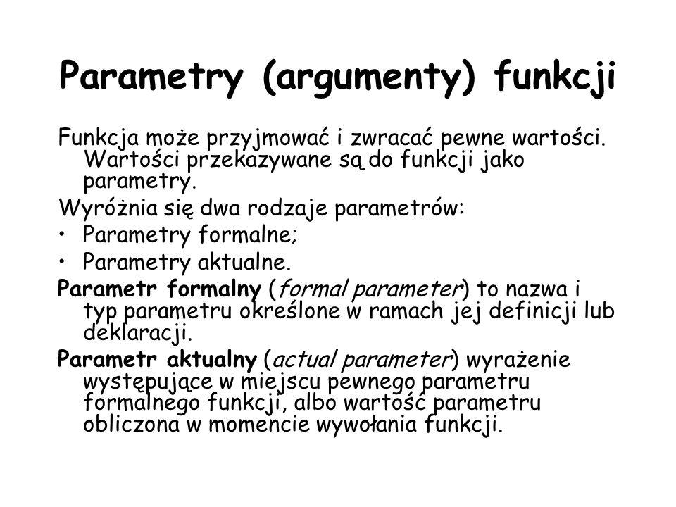 Parametry (argumenty) funkcji