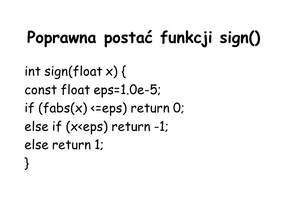 Poprawna postać funkcji sign()