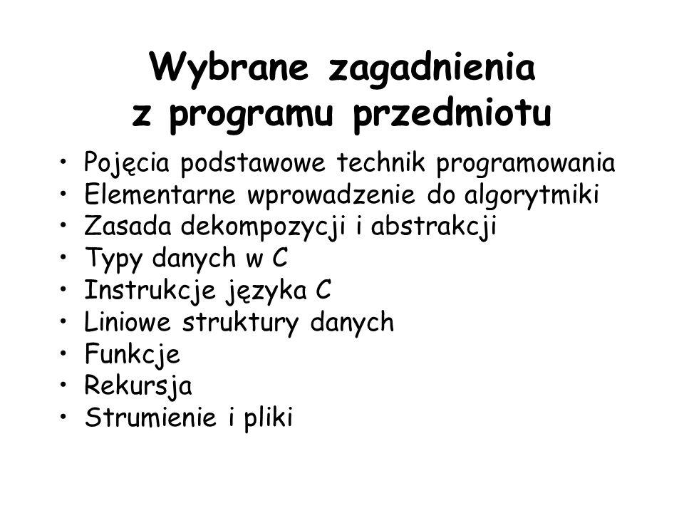 Wybrane zagadnienia z programu przedmiotu