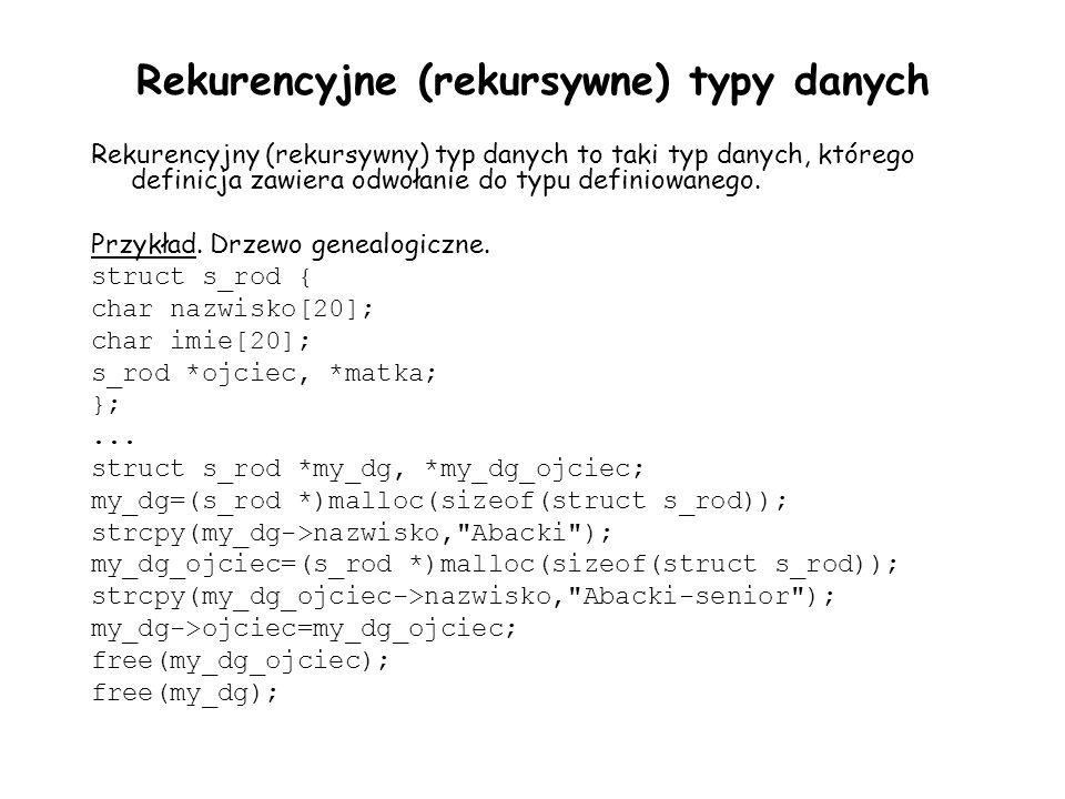 Rekurencyjne (rekursywne) typy danych