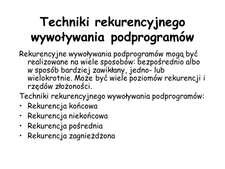 Techniki rekurencyjnego wywoływania podprogramów