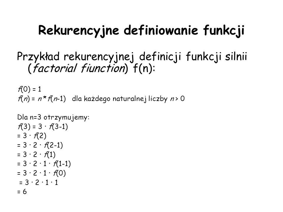 Rekurencyjne definiowanie funkcji