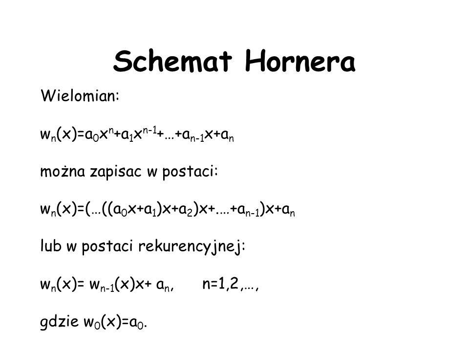 Schemat Hornera Wielomian: wn(x)=a0xn+a1xn-1+…+an-1x+an