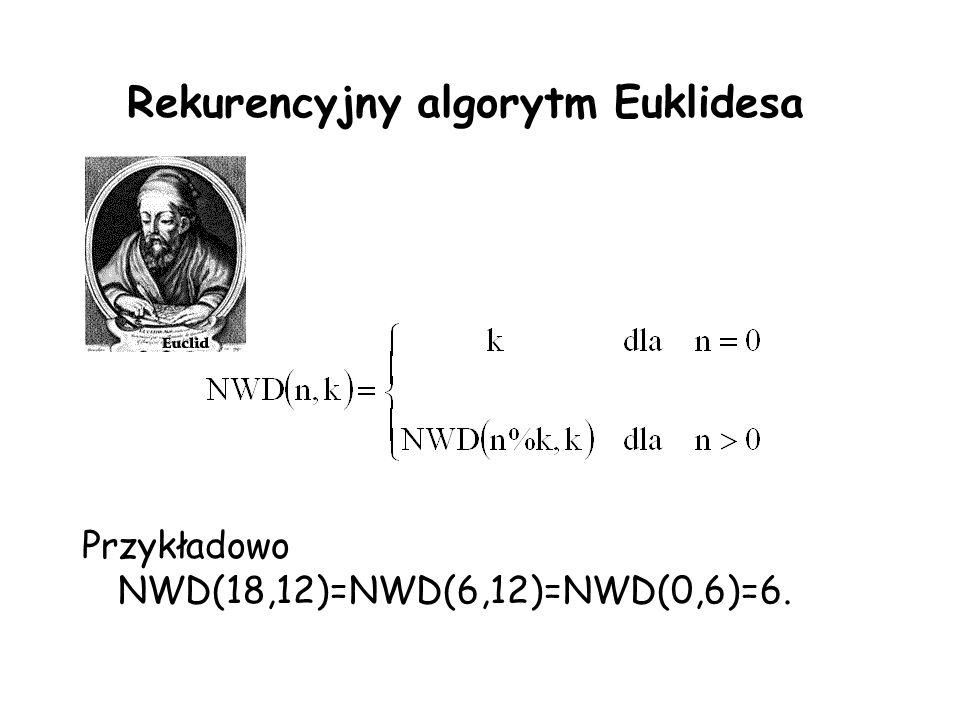 Rekurencyjny algorytm Euklidesa