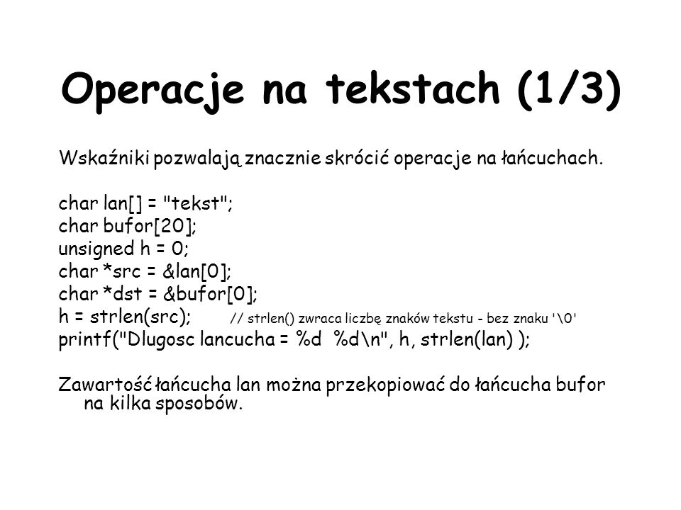 Operacje na tekstach (1/3)