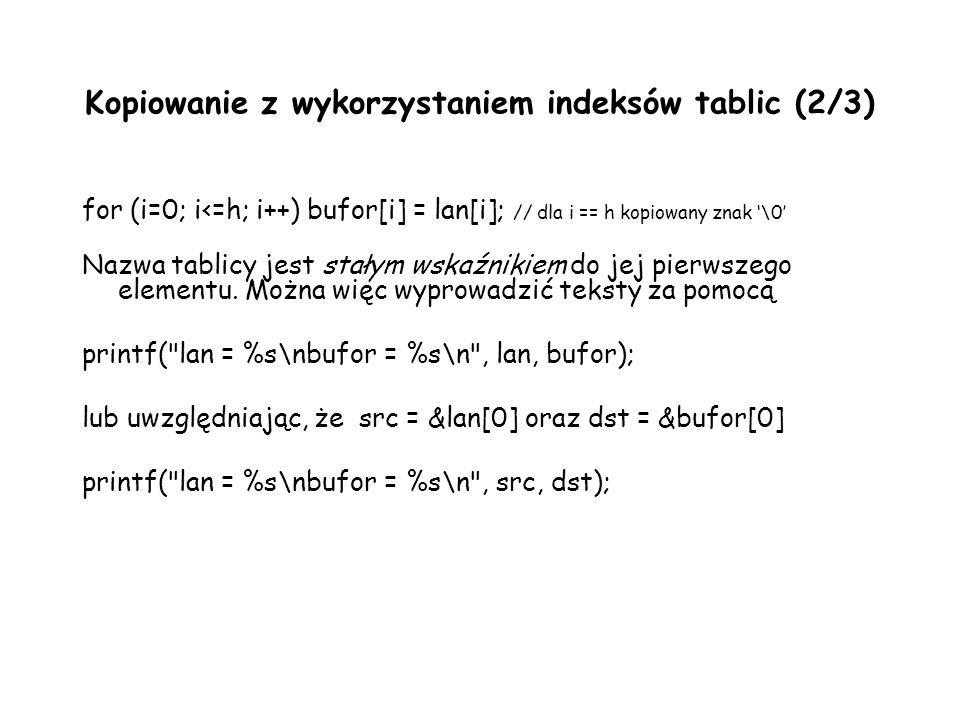 Kopiowanie z wykorzystaniem indeksów tablic (2/3)