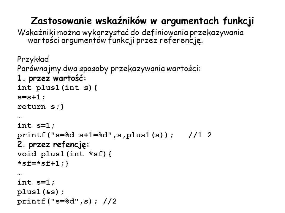Zastosowanie wskaźników w argumentach funkcji