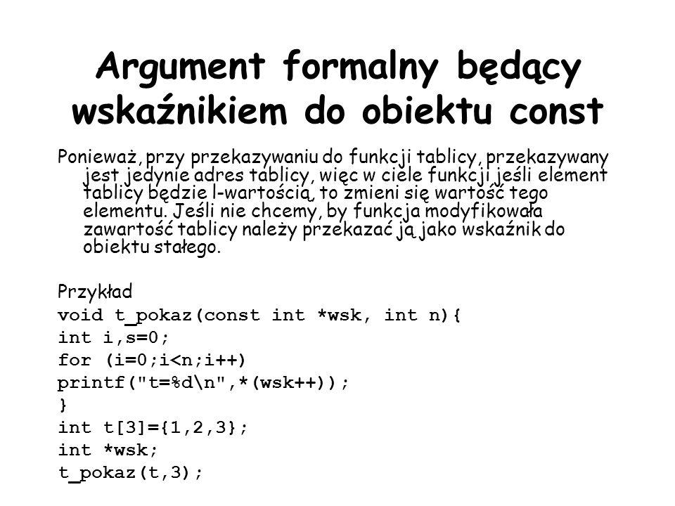 Argument formalny będący wskaźnikiem do obiektu const