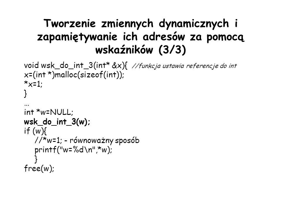 Tworzenie zmiennych dynamicznych i zapamiętywanie ich adresów za pomocą wskaźników (3/3)