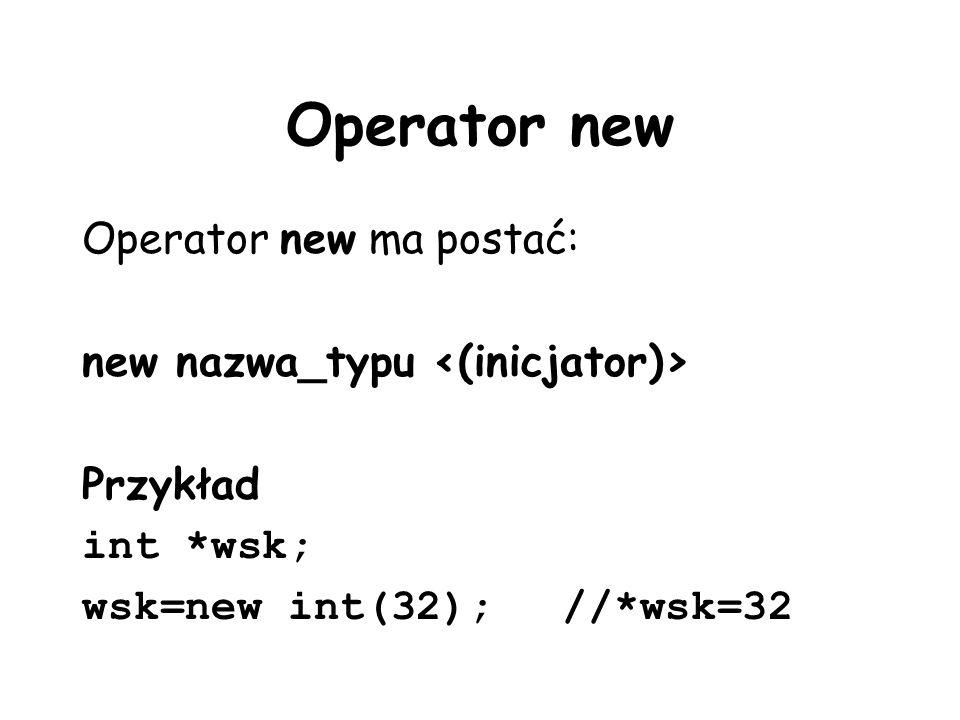 Operator new Operator new ma postać: