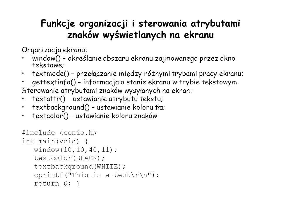 Funkcje organizacji i sterowania atrybutami znaków wyświetlanych na ekranu