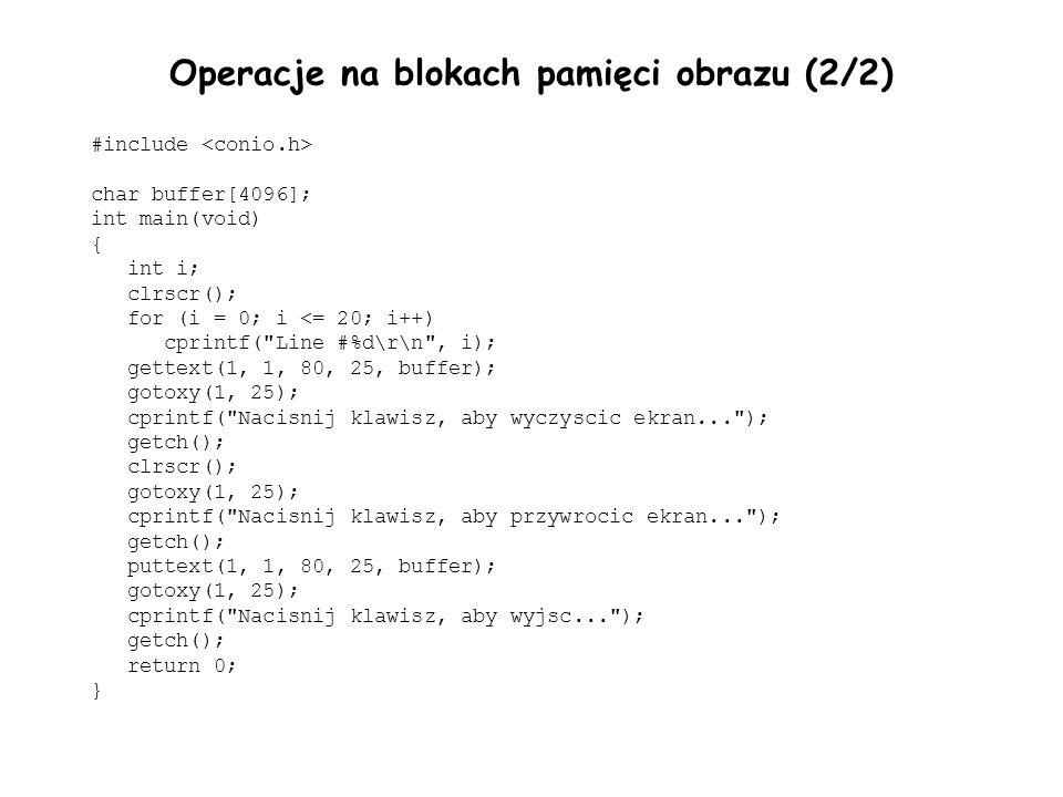 Operacje na blokach pamięci obrazu (2/2)