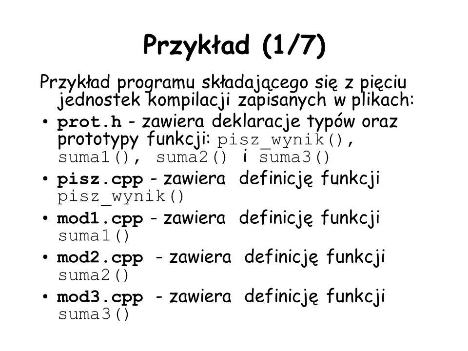 Przykład (1/7) Przykład programu składającego się z pięciu jednostek kompilacji zapisanych w plikach: