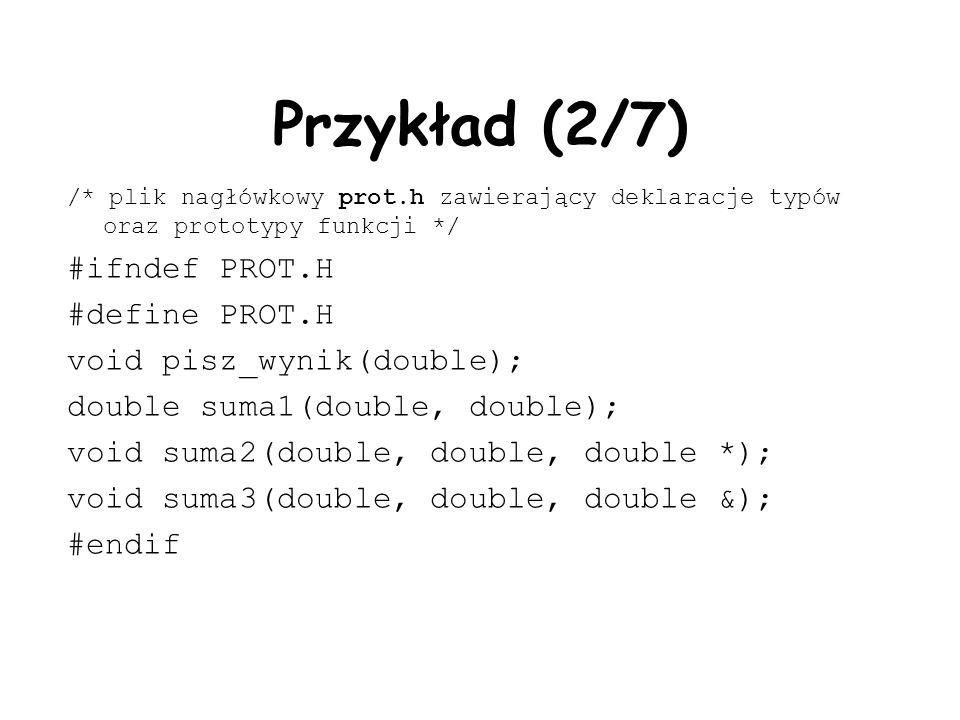 Przykład (2/7) #ifndef PROT.H #define PROT.H void pisz_wynik(double);