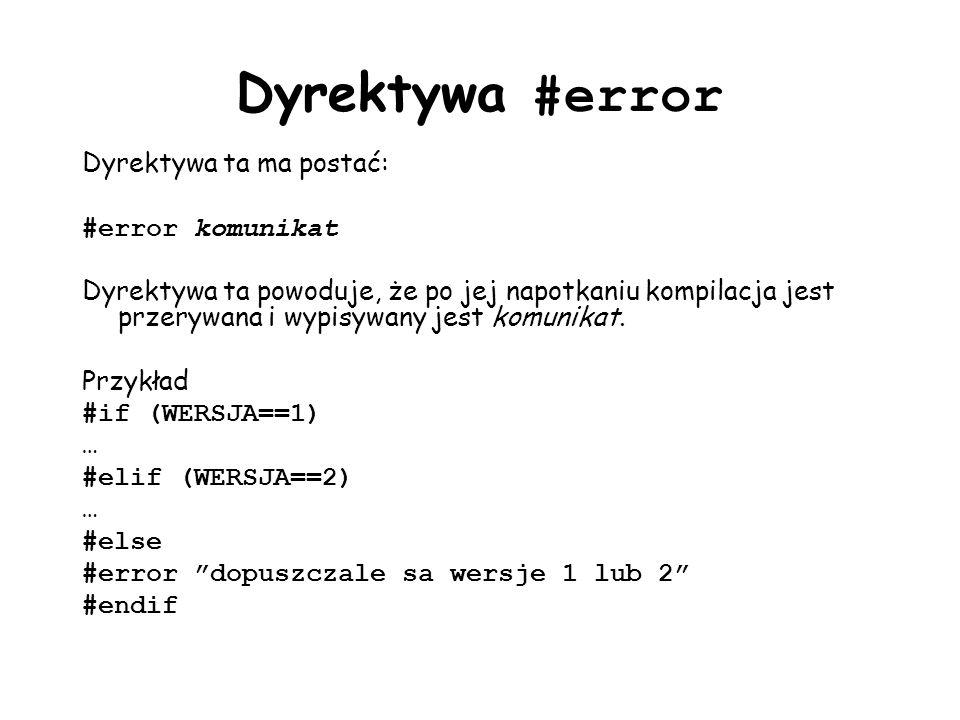 Dyrektywa #error Dyrektywa ta ma postać: #error komunikat