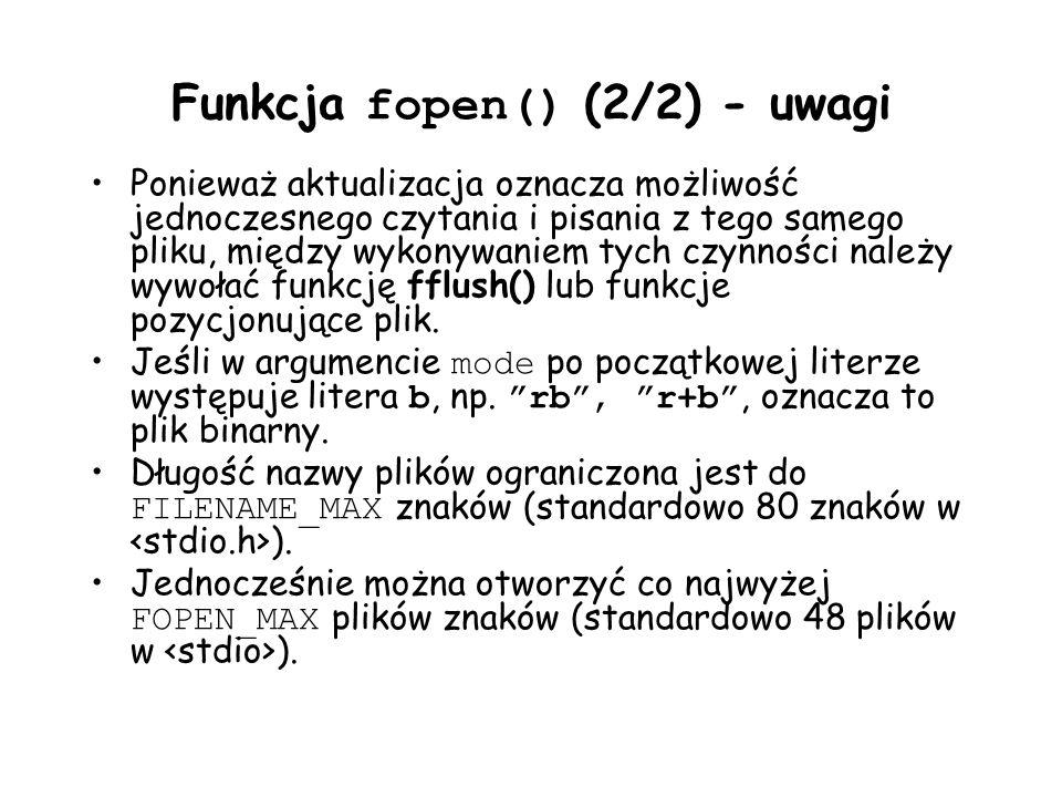 Funkcja fopen() (2/2) - uwagi