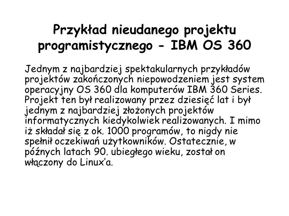 Przykład nieudanego projektu programistycznego - IBM OS 360
