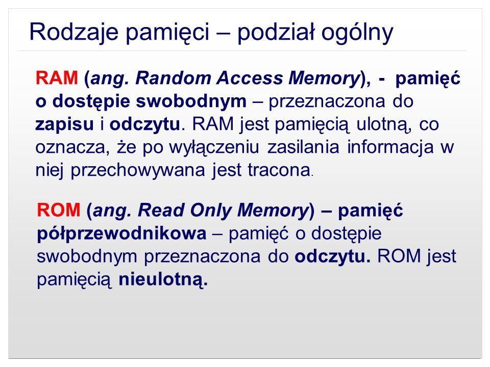 Rodzaje pamięci – podział ogólny
